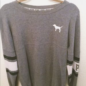 Victoria Secret/Pink Grey Long Sleeve Sweater